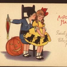 MINT!  MEP..TEASING BOY TRIES TO KISS GIRL AT HALLOWEEN PARTY,VINTAGE POSTCARD