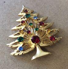 So Pretty!!! BROOKS Vintage Costume Goldtone Rhinestone Christmas Tree Brooch