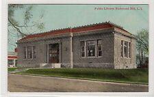 PUBLIC LIBRARY, RICHMOND HILL, L.I.: New York USA postcard (C13194)