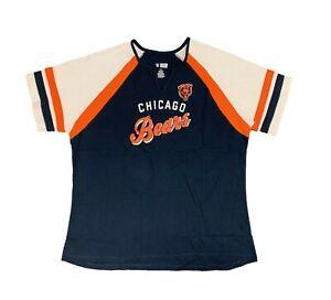 Womens Chicago Bears Vneck Short Sleeve Tee Navy Sz 1X 2X A10559RM