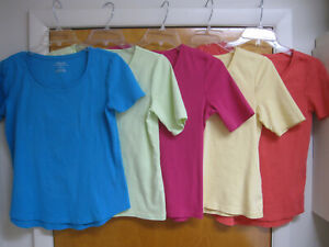 Lot of 5 CHICOS Assorted Ultimate Tees 100% Cotton Size 0