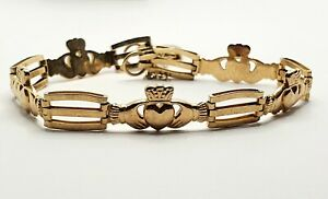 9ct yellow gold Claddagh Bracelet with Traditional Heart Padlock