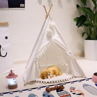 Dog Cat Pet Teepee White Tent Portable Washable Sweet House Kids Play Tents  AH