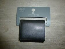 MARKS AND SPENCER MENS GENUINE LEATHER WALLET BLACK WITH 4 CARD SLOTS
