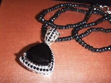 Thai Black Spinel Silver/14K YG  Pendant w' Faceted Bead (4mm/Round) Necklace