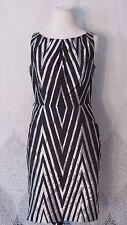 Nine West Women's Black White Sleeveless Dress Pockets Sheath Career Work Sz 6