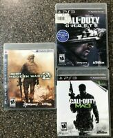 Lot of 3 Call of Duty Games Bundle - PlayStation 3 - MW2 + MW3 + Ghosts - Tested