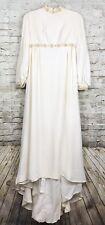 Vintage Hippie Boho Wedding Dress Size Small Cream Ivory Beaded Festival Veil
