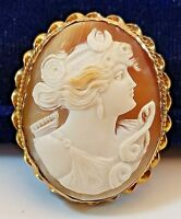 Victorian Carved Shell Lovely Lady Cameo Pin Brooch Pendant in 10K Braided Frame