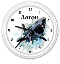 Shark SILENT Wall Clock PERSONALIZED Ocean Great White Boys Bedroom GREAT GIFT