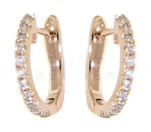 Solid 14K Rose Gold Real Natural Diamond Daily Wear Huggies Earrings 0.14 Carat