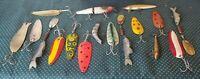 Lot Of Vintage Fishing Lures Two Hooks & Three Hooks Mepps Rapala AL&W Dardevle
