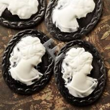 4pcs Resin Flatback Cameo Lady Portrait 40x30x7.5mm Black and White YBRB0694