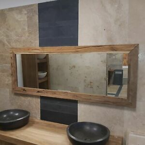 Spiegel Wandspiegel Flur Bad Teak Altholz Rahmen massiv handgefertigtes Unikat