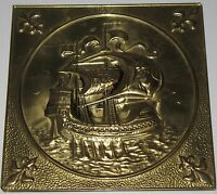 Vintage Square Brass Ship Wall Hanging Plaque 8""