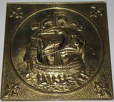 "Vintage Pirate Viking Sailing Ship Brass Wall Plaque Hanging Art Nautical 8"""