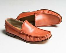 Kiton $1,695 NIB Rust Orange Leather Slip-On Loafers Shoes 8.5 US
