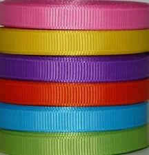 6 yards 3/8 inch Solid Color Grosgrain Ribbon - 1 yard each color
