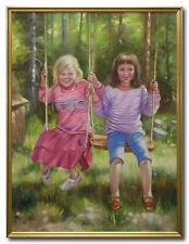 FATHI KASRAIAN/TWO GIRLS - Swedish Art Oil Painting