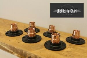 """2 - 10 Black Malleable Iron Flange Fitting with Copper 3/4"""" to 22mm Copper Mount"""