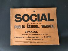 Original 1901 old antique letterpress poster from warden public school