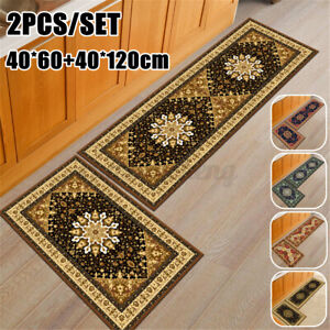 2PCSWaterproof Kitchen Floor Area Rug Non-Slip Bathroom Carpet Absorbe