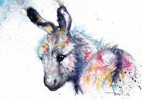 Donkey,Sale,Original ,Watercolour ,Print ,Card, Gift, Wildlife,Animal,Art, wall