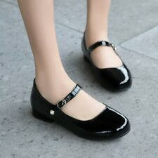 Women Flat Heel Ankle Strap Girls Mary Jane Pumps Patent Leather Shoes Plus Size