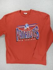 New England Patriots NFL Retro Screened Football SideLine Crew Sweatshirt (5XL)