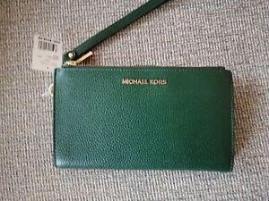NWT Michael Kors Jet Set Travel Double Zip Wristlet Wallet  Green