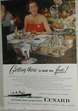 1952 CUNARD LINES advertisement Queen Elizabeth Mary dinning room Crepes Suzette