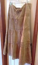 Vintage Margaret Godfrey Leather Suede Skirt Hippie Size 10 Cut Out Fully Lined