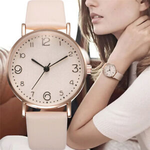Luxury Women Quartz Watches Stainless Steel Dial Leather Bracelet Wrist Watch