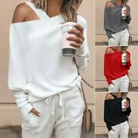 Women Off One Shoulder Long Sleeve Tops Solid Casual Shirt Blouse Jumper Sweater