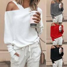 Womens One Shoulder Plain T-shirt Long Sleeve Knit Baggy Jumper Sweater Pullover
