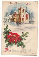 MY CHRISTMAS WISH Lighted Church Snow Winter Poinsettia Postcard Wolf & Co.USA