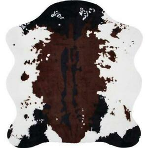 Classic Safari Cow Print Rug 56-inch x 61-inch with Slip-Resistant Backing for