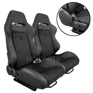 2 X TANAKA BLACK PVC LEATHER & BLACK SUEDE RACING SEATS RECLINABLE FITS SUBARU