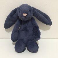 Jellycat Bashful Bunny Small Navy Blue Comforter Plush Soft Toy Rare