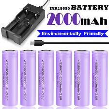 2000mAh 3.7V INR18650 Battery Rechargeable Li-ion High Drain Flat Top Charger US