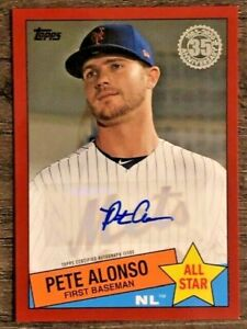 2020 Topps Series 2 Pete Alonso 1985 Topps All Star Auto Red 7/25 Mets