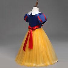 Kids Girls Disney Princess Belle Elsa Anna Fancy Dress Cosplay Tulle Tutu Dress