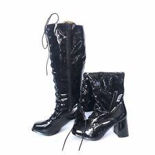Black PVC patent leather lace up boots knee high fetish unisex cross 41EU 7UK