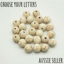 Letter wooden bead name dummy chain clip garland beads baby round 14mm play gym