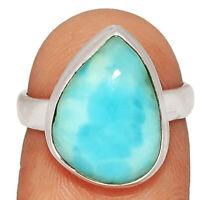 Genuine Larimar - Dominican Republic 925 Silver Ring Jewelry s.6 BR13879 XGB