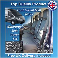 FORD TRANSIT MK8 14+ BLACK TAILORED WATERPROOF FRONT SEAT COVERS 1+2 H/DUTY VAN