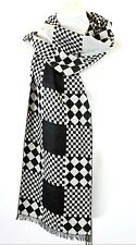 B53 Cashmere Plaid Check Houndstooth Black & White Fringe Long Scarf Boutique