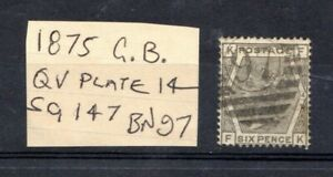 GREAT BRITAIN :VICTORIA 1875 SG147 PLATE 14, 6d GREY letter FK BN97 CAT £90