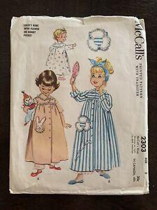 Vtg 1950s McCalls 2303 Toddler 3 Pattern w/ Transfer Robe & Bunny /Flower Pocket