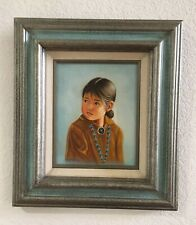 Vintage Native American Painting Young Girl Turquoise Beaded Cabin Art Cowboy